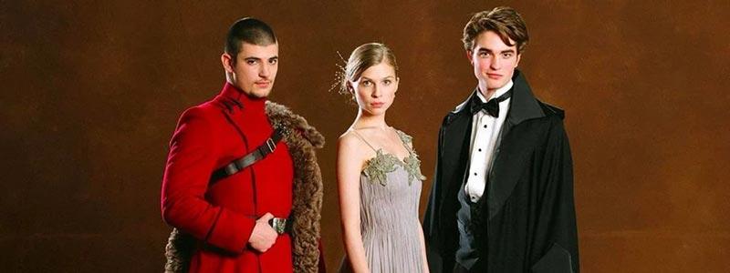 Yule Ball öncesinde Viktor Krum, Fleur Delacour ve Cedric Diggory